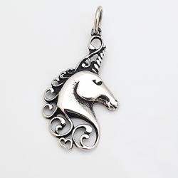 Pendentif argent tête de licorne (unicorne) coeur