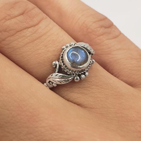 anello in argento 925 di foglie e pietre semi-preziose