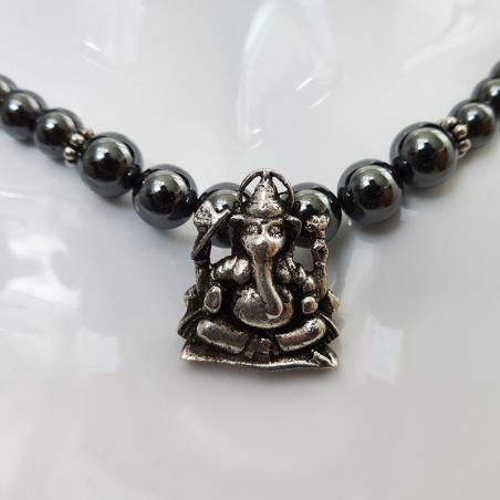 Collier Hematite pendentif Ganesh