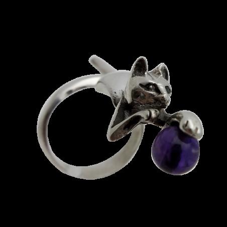 Bague Chat avec bille en pierre