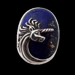 Chevalière Licorne et pierre semi précieuse