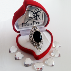 Baroque silver ring and semi precious stone