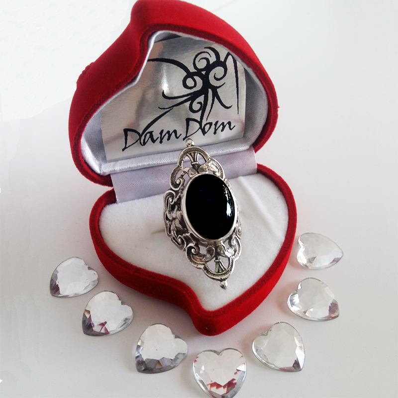 Baroque silver ring and semi precious stone