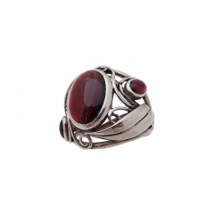 Silver ring arabesques with garnet or onyx stones