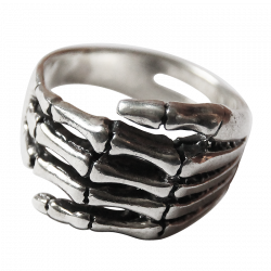 Silver ring skeleton hand