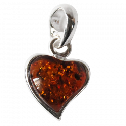 Silver and Amber Heart Pendant