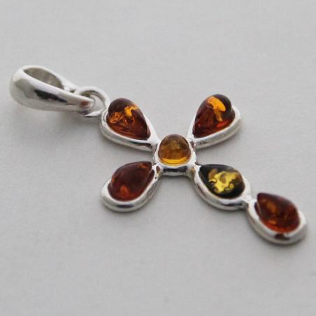 Pendentif argent croix perles d'ambre