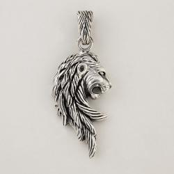 Pendentif tête de lion profil crinière