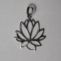 Colgante de plata de flores y turquesa (Reconstituido)