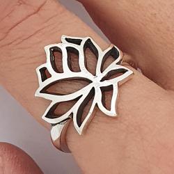 Anillo de flor de loto plata 925