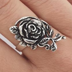 Bague fleur rose argent 925