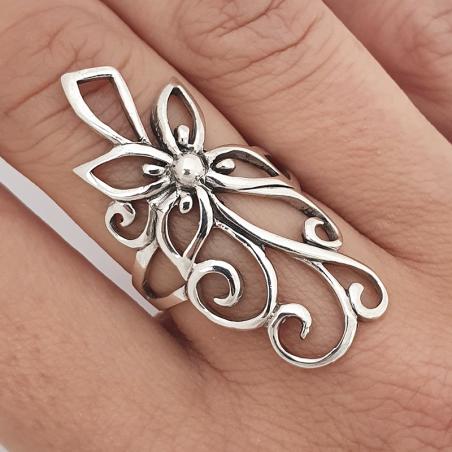 anillo de flor  largo