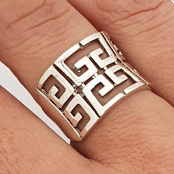 Greek style motif ring