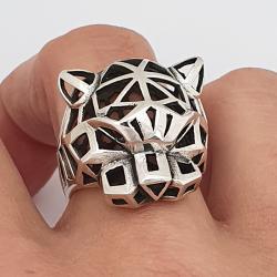 Anillo de plata 925, pantera, estilo origami.