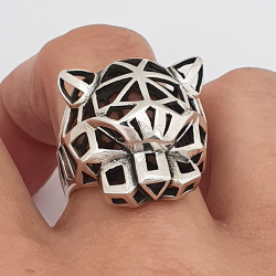panther ring, origami style, 925 silver