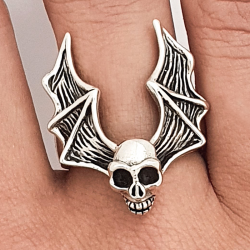 Silver ring 925 winged skull